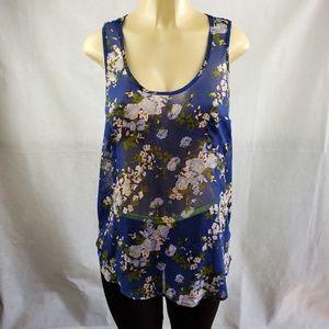 🔴SALE🔴 Route 66 Blue Floral Sheer Blouse Sz XL